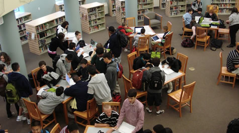 Lunch hour in the Moreau Catholic High School Library