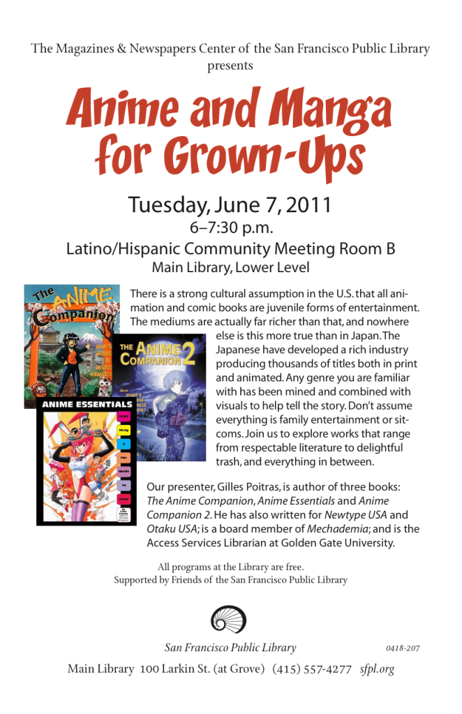 Flyer for Anime and Manga for Grown-ups Event at San Francisco Public Library